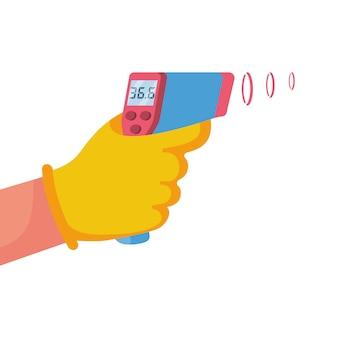 手の医者のデジタル非接触赤外線温度計。