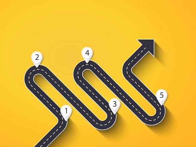 段階的な構造を持つ道路方法インフォグラフィックテンプレート