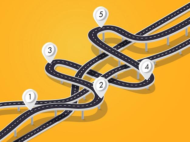 Поездка и путешествие маршрут фон. шаблон инфографики бизнес и путешествие