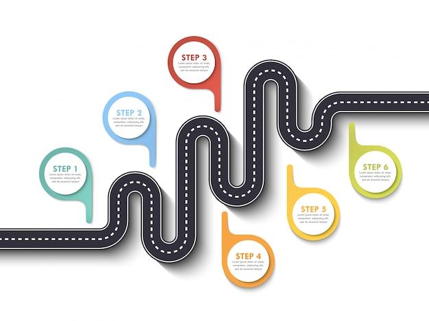 ピンポインターと道路方法場所インフォグラフィックテンプレート