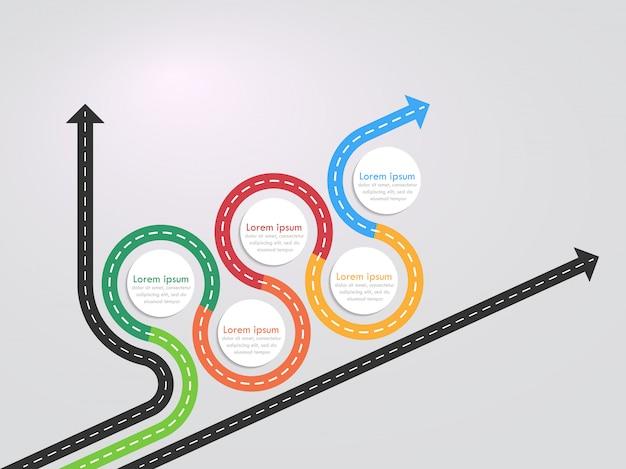 段階的な構造を持つ道路方法場所インフォグラフィックテンプレート