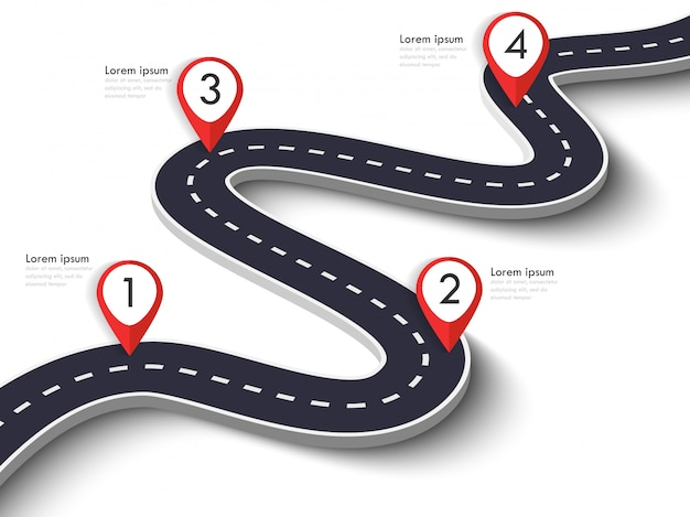 ピンポインターと曲がりくねった道方法場所インフォグラフィックテンプレート。