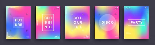ぼやけた色グラデーションポスターのセットです。夏クラブ明るいパーティーポスター。テンプレートデザインについて説明します。抽象的なグラデーションメッシュの背景。トレンディなヒップスターのホログラフィック形状。