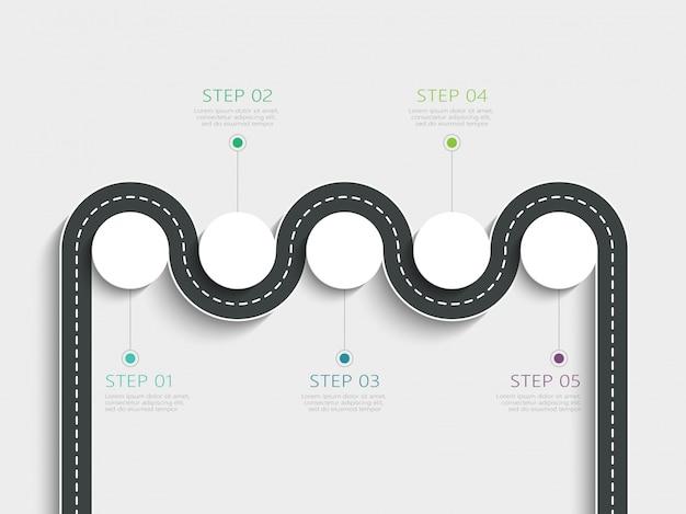 段階的な構造を持つ曲がりくねった道方法場所インフォグラフィックテンプレート