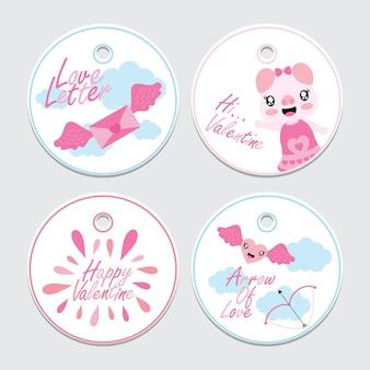 かわいい豚、ラブレター、そしてバレンタインカップケーキトッパーのための矢印ベクトル漫画のイラスト