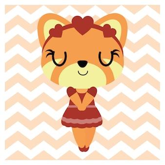 Симпатичная девушка лиса на шевронном фоне