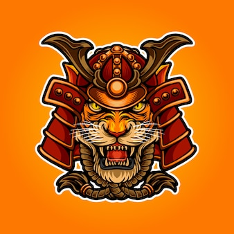 Иллюстрация самурай тигр