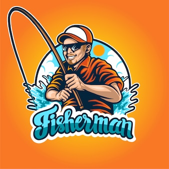 Премиум логотип рыбака