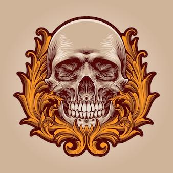 装飾的な図と頭蓋骨の頭