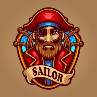 Иллюстрация моряка премиум