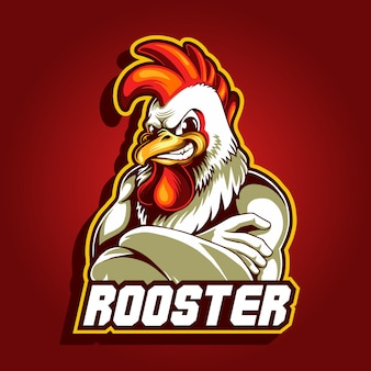 Иллюстрация петух талисман логотип