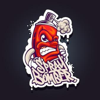 Иллюстрация спрей бомбардировщик талисман логотип