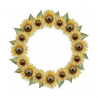 黄色いヒマワリと丸い水彩花輪