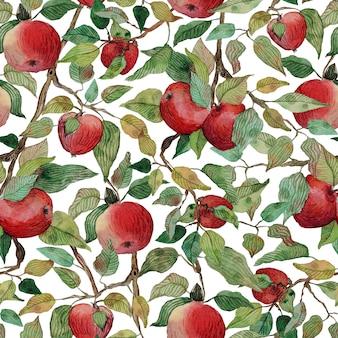 Бесшовные акварельный яблочный бранч