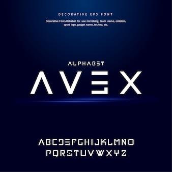 Цифровой современный будущий креативный алфавит шрифт
