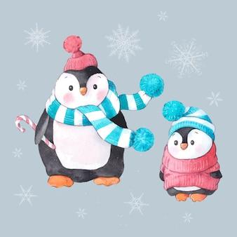 Акварельный набор двух пингвинов на рождество
