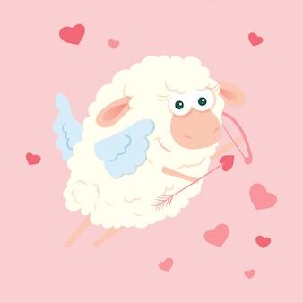 バレンタインの日に弓と矢でかわいい漫画羊キューピッド。