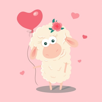 バルーンでかわいい漫画羊。
