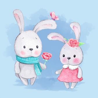 水彩漫画のウサギの男の子と女の子
