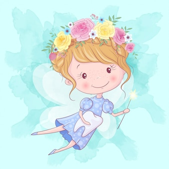 魔法の杖と歯のかわいい漫画歯の妖精。手描き