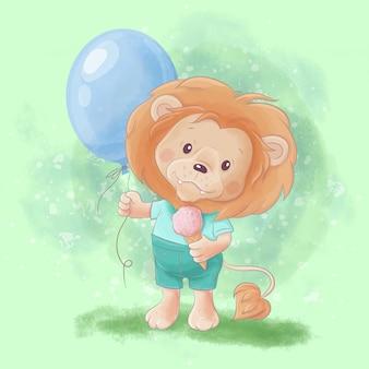 Акварельная мультипликационная иллюстрация милого льва с воздушным шаром и мороженым