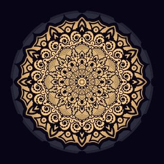 Роскошный фон мандалы с золотым узором арабески