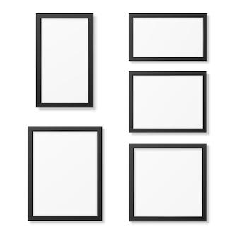 白い背景に分離された現実的な空白の図枠テンプレートセット。