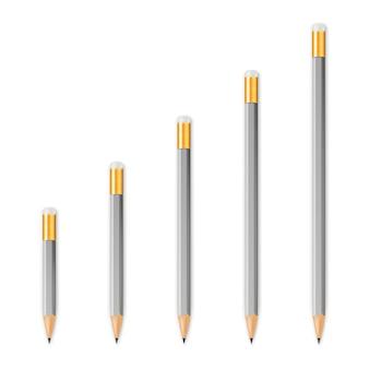 Серые деревянные острые карандаши