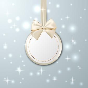 リボン付きクリスマスゴールデン吊りタグ
