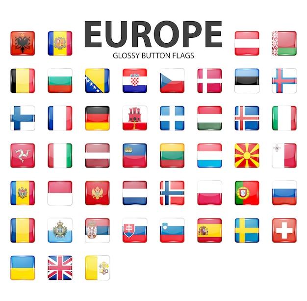 Глянцевые кнопки флаги - европа. оригинальные цвета.