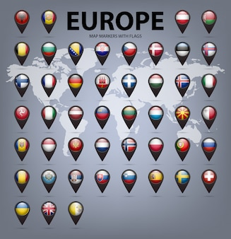 Карта маркеров с флагами - европа. оригинальные цвета.