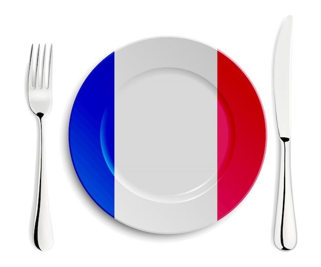 フランスの旗とプレート