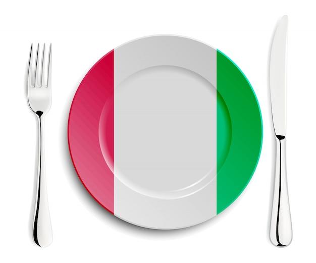 イタリアの国旗とプレート
