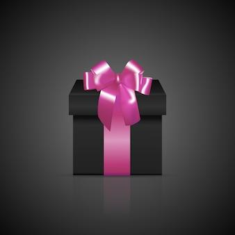 ピンクのリボンと弓と黒の正方形のギフトボックス