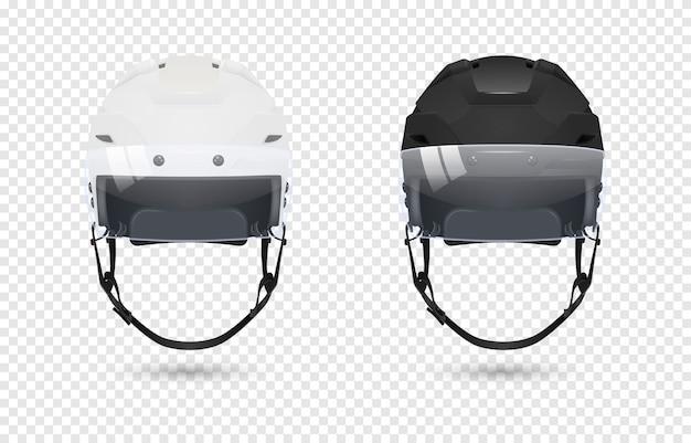 Реалистичные классические хоккейные шлемы с комплектом козырька - черно-белого цвета.