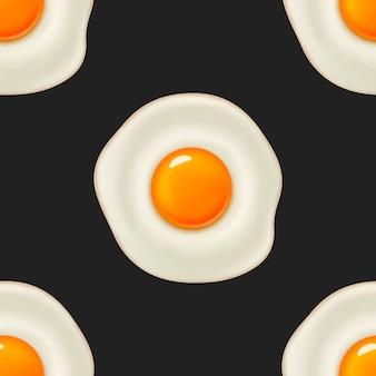 美しい現実的な目玉焼きとのシームレスなパターン。