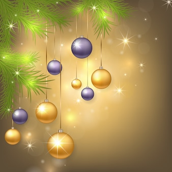 Рождественский фон с шарами и елкой