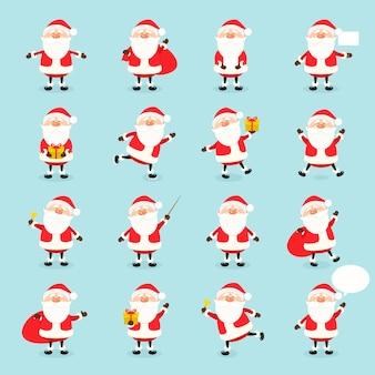 Симпатичные вектор санта-клаус набор в плоский, рождественская коллекция, рождество и новый год персонажа в разных позах. веселый санта с разными эмоциями