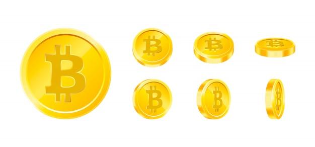 Биткойн золотая монета значок набор в разных ракурсах на белом фоне. цифровая валюта деньги концепция. символ криптовалюты, технологии блокчейн.
