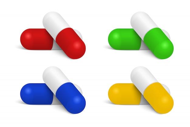 Реалистичные медицинские таблетки на белом фоне.