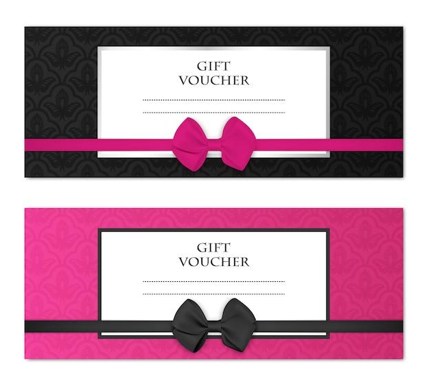 花柄と美しい弓で設定されたモダンなギフト券テンプレート。クーポン、カード、招待状、証明書、チケットなど。