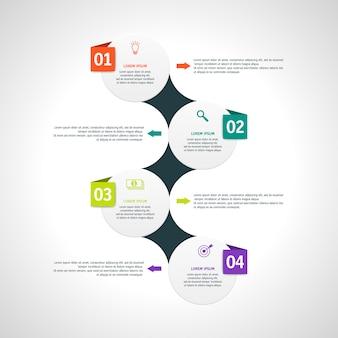 Инфографика шаблон с четырьмя параметрами в стиле материала. его можно использовать в качестве диаграммы, пронумерованного баннера, презентации, графика, отчета, сети и т. д.