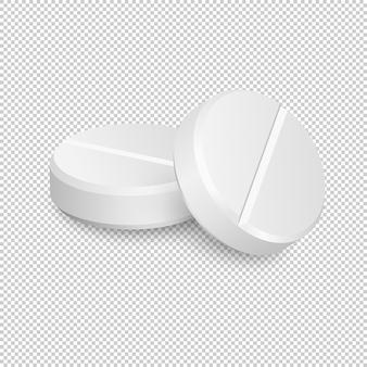 Две иконки реалистичные медицинские таблетки.