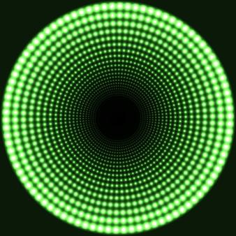 Светодиодное зеркало абстрактный круглый фон. зеленые сверкающие огни исчезают в центре.