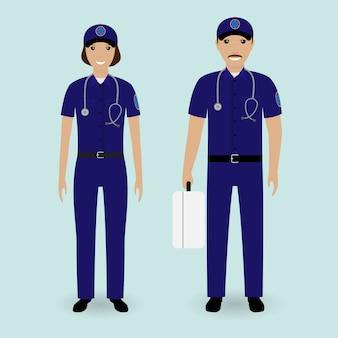 Концепция персонала больницы. медработники скорой помощи бригады. мужской и женский работник скорой медицинской помощи