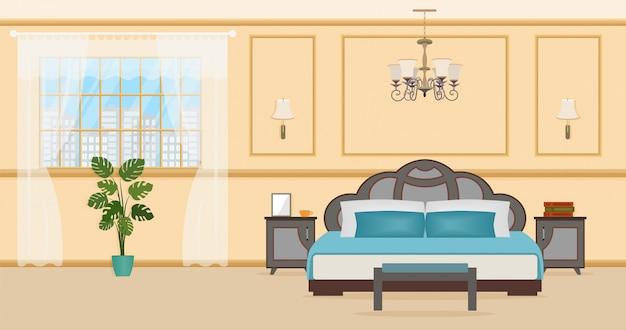 ベッドなどの家具を備えたベッドルームのインテリアデザイン