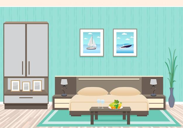 Дизайн интерьера спальни с мебелью, включая кровать