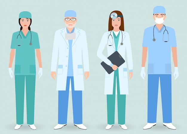 Больничный персонал. группа мужчин и женщин врачей, медсестер. медицинские люди.