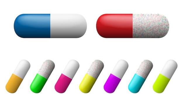 カプセルセット。薬局の薬のアイコン。薬物のシンボル。