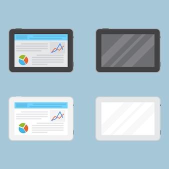 Набор планшетов с пустым экраном и с некоторой информацией на дисплее. таблетки.